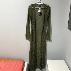 Poof Womens Olive Lace Open Front Long Shrug Sz L